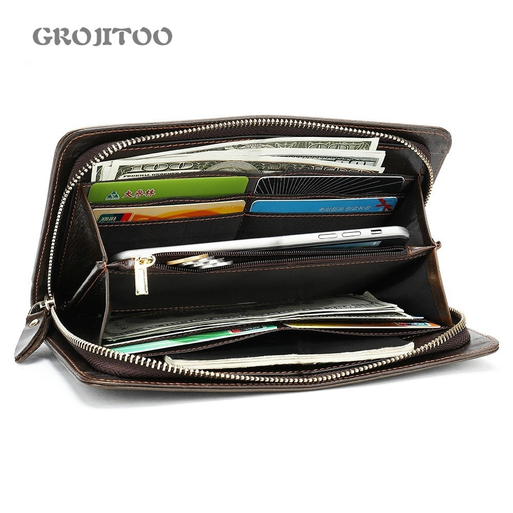GROJITOO 2020 Cluth Male Genuine Leather Wallets with card and coin Pocket  Men long Cluth leather w