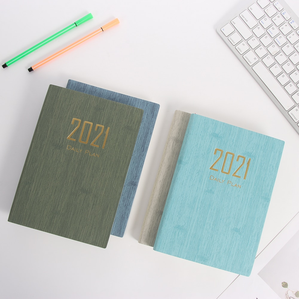 1PC 2021 Daily Plan Year Schedule A5 Notebook Time Management Book Calendar Dates Creative Table Coil Planner Reminder Worksheet