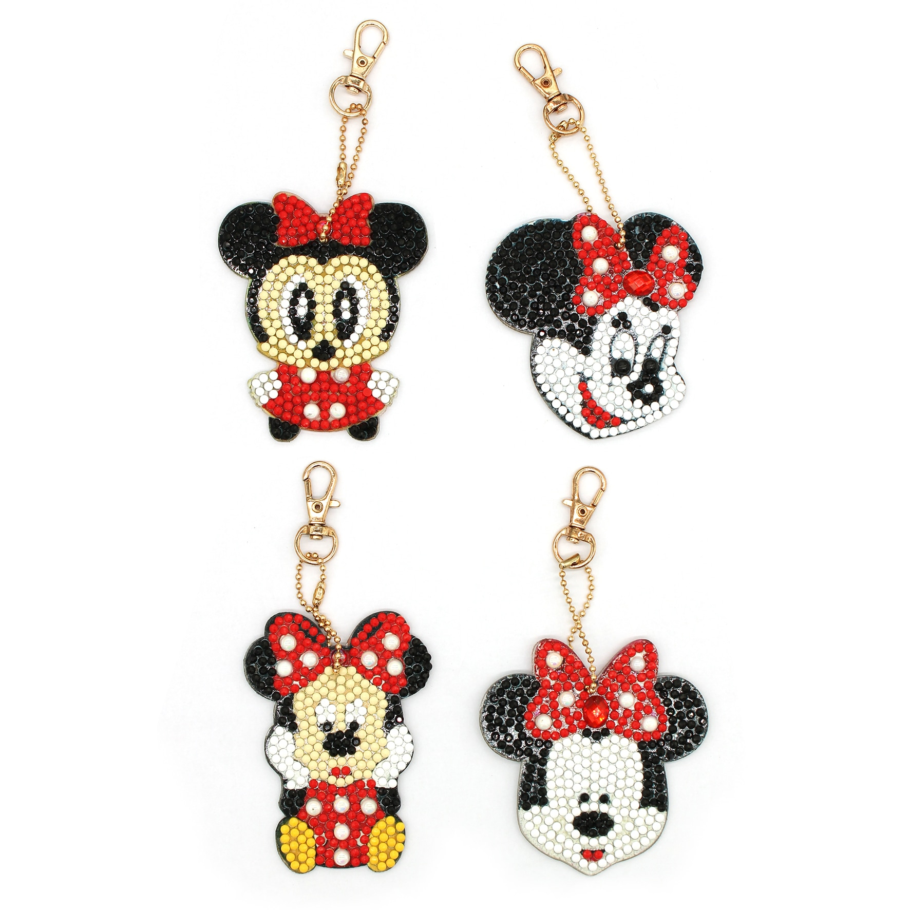 Inlay of diamond in Mickey Mouse characters including keychains