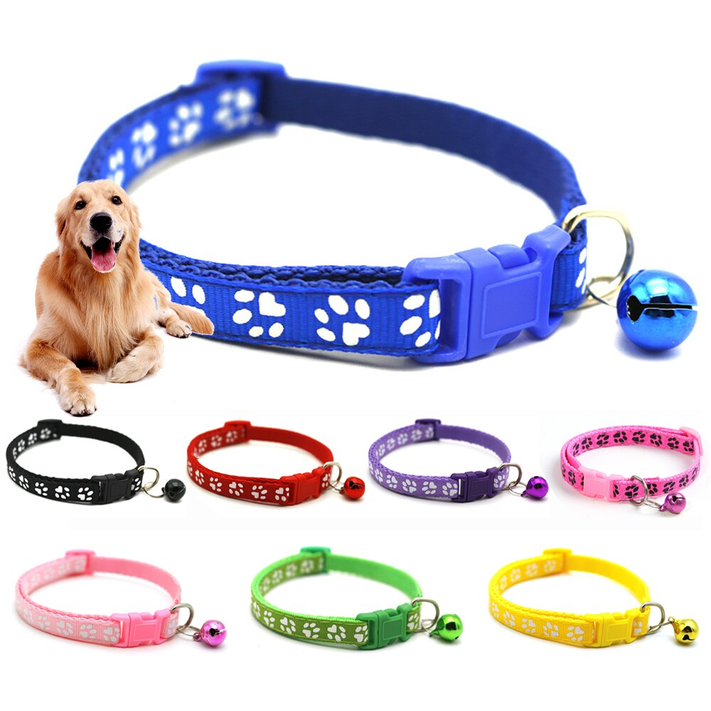 New Colorful Cute Bell Collar Cats Dog Collars Teddy Bomei Pet Cartoon Funny Cat Paw Print Adjustable Leads Cat Accessories