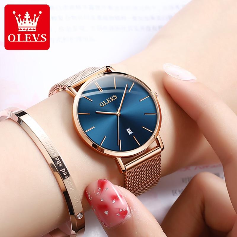 OLEVS Rose Gold Women Watches 2021 Luxury Stainless Steel Mesh Strap Quartz Wrist Watch Calendar Wat