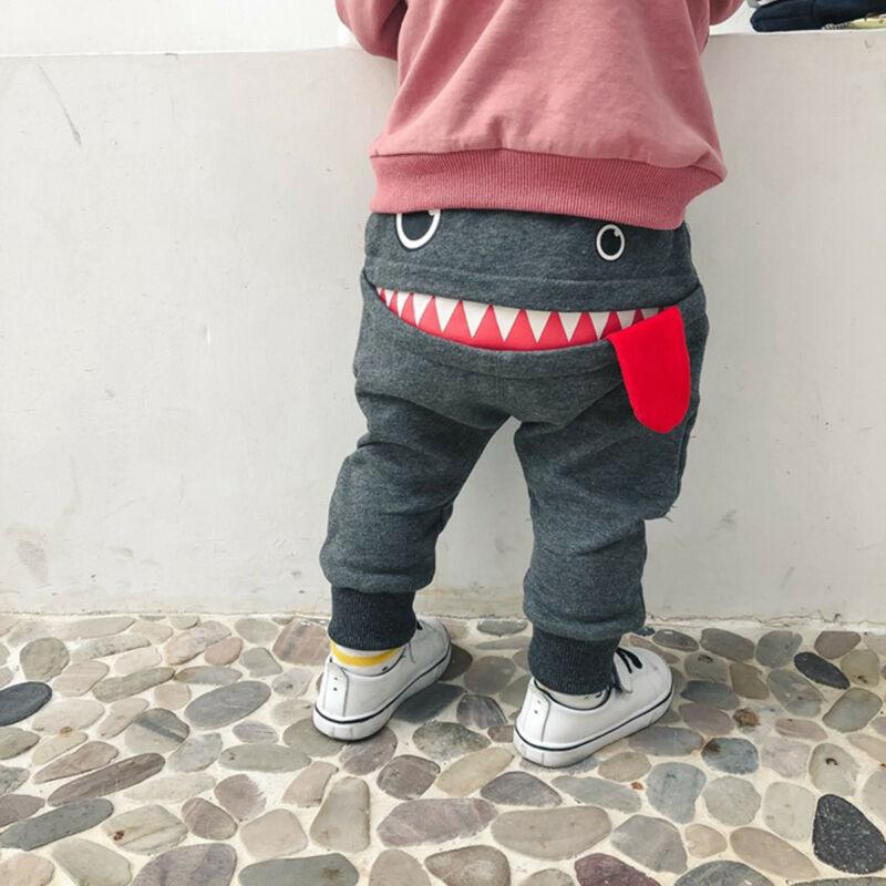 Милые штаны с принтом для маленьких мальчиков, большая пасть чудовища, эластичные леггинсы, повседневные штаны для детей 0-4 лет