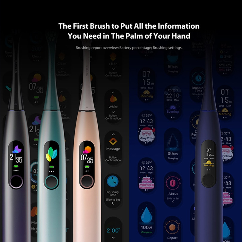 Sonic Electric Toothbrush Whitening Teeth vibrator Wireless Charge 40 days works Smart APP Ultrasonic Check teeth enlarge