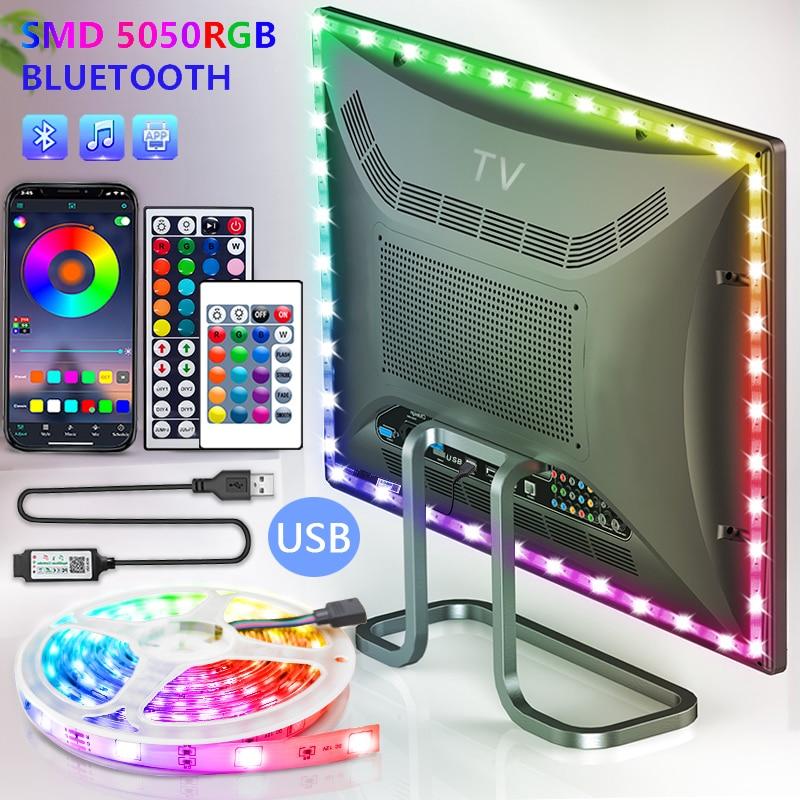 Bluetooth cintas de luz LED USB RGB SMD 5050 DC5V lámpara Flexible...