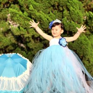 Blue White Flower Girls Wedding Dresses Kids Party Dresses For Girl Dance Ball Gown Junior Bridesmaid Tulle Tutu Dress Vestidos