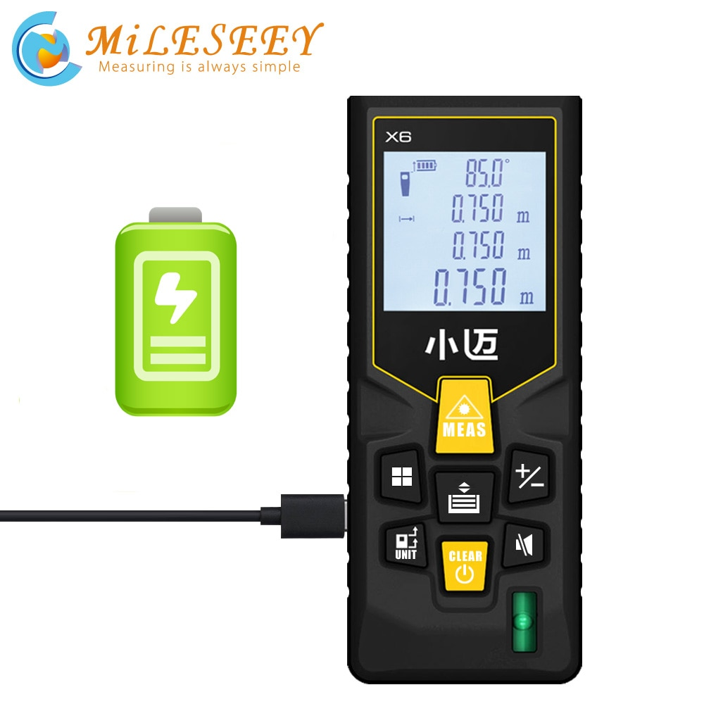 Medidor láser de distancia Mileseey X6, recargable, 40M, 70M, telémetro, telémetro, cinta láser, buscador de rango, dispositivo de construcción, regla, herramienta de prueba