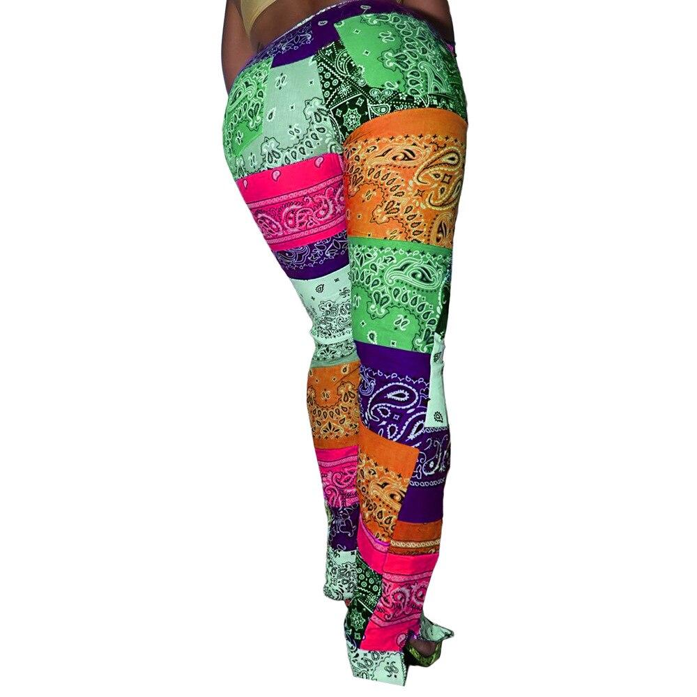 color block chest pocket dip hem tee Woman Pant Paisley Printed Streetwear Skinny Trousers Retro High Waist Split Hem Bandage Pants Pockets Color Block Sweatpants
