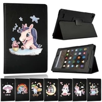 flip tablet case for amazon fire 75th7th9thhd 86th7th8th105th7th9th dust proof pu leather unicorn cover case