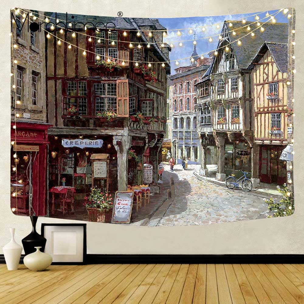 ITALIAN STREET CORNER RESTAURANT TAPESTRIES PRINTED WALL HANGING TAPESTRY POLYESTER TAPESTRY