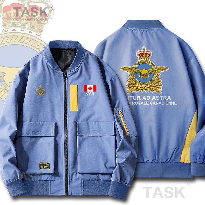 Chaquetas militares del Ejército de la Fuerza Aérea de Canadá CA puede hombres bombardero cremallera chaqueta Hit Color Street wear béisbol Fit Pilot