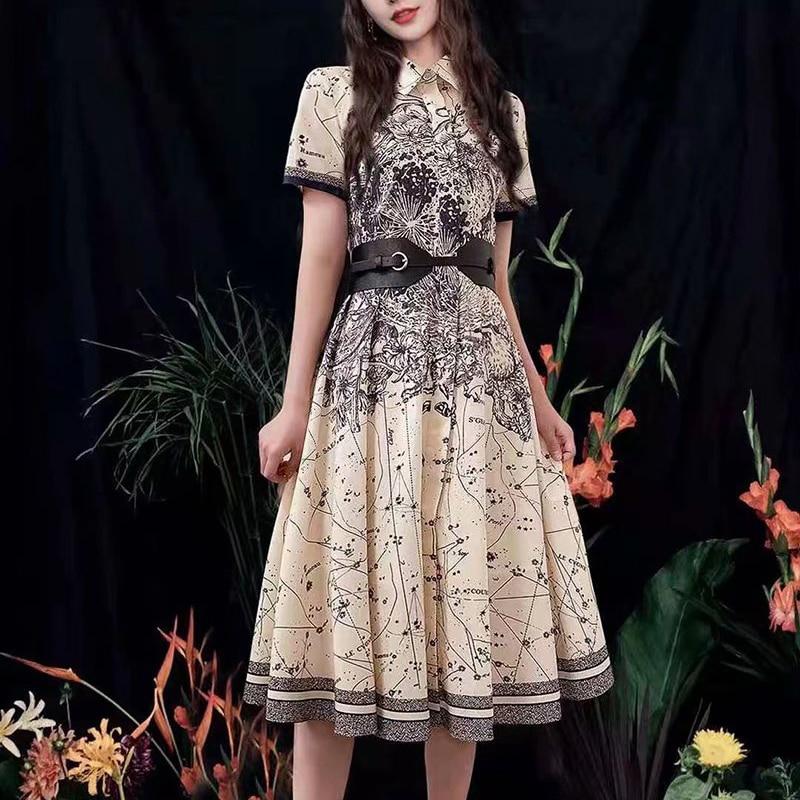 صيف جديد نمط الرجعية العرقية طباعة زهرة حزام جيب مزاجه ضئيلة قميص منتصف طول فستان عالية الجودة المرأة الملابس