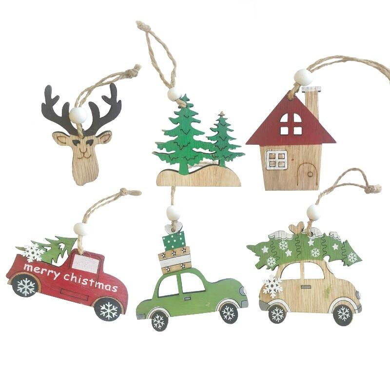 3 unids/set coche/ciervo/árbol colgantes de madera adornos Navidad madera artesanía árbol de Navidad adornos niños regalo Navidad Fiesta Decoración