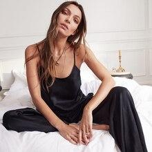 Backless Satin Sexy Pajamas Black Lace Pajamas With Pants Loose Spaghetti Strap Intimate Lingerie Sl