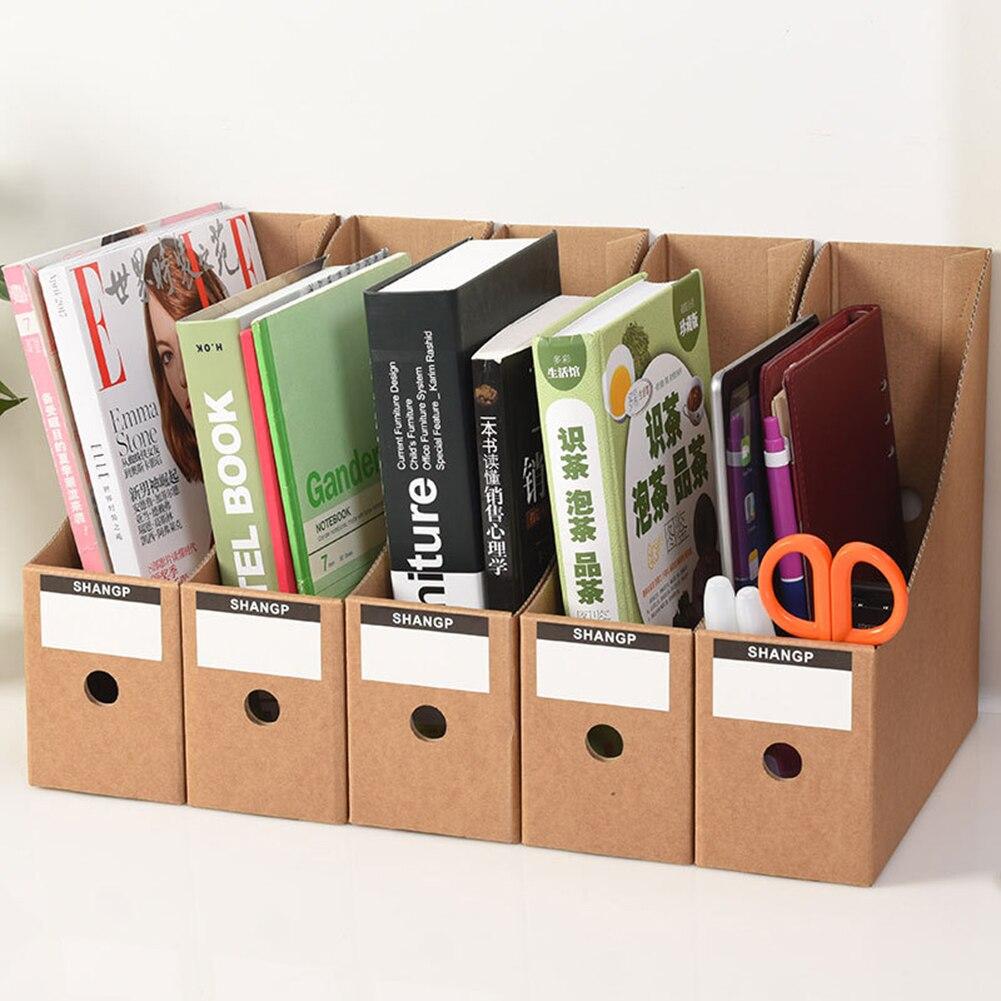 5PCS Schreibwaren Lagerung Box Papier Magazin Dokument Rack Schreibtisch Veranstalter Schule Unterlagen Büro Datei Halter Faltbare mit Etiketten