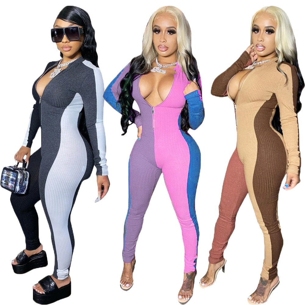 2020 Hot Selling Color Block Patchwork Bodycon Jumpsuits Fashion Sexy Zipper Tight Long Sleeves Casual Sport