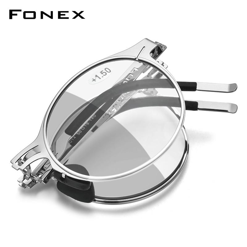 فونيكس فوتوكروميك رمادي مكافحة الأزرق حجب للطي نظارات للقراءة الرجال النساء 2020 قصر النظر بدون مسامير طوي نظارات FONEX LH014