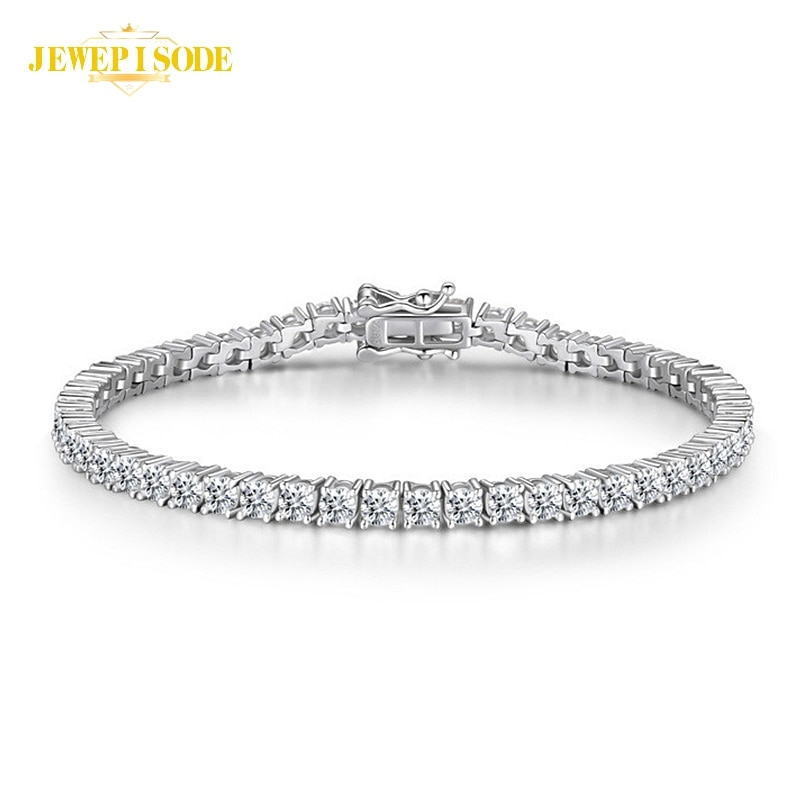 Solid 925 Sterling Silver 15-21CM Created Moissanite Diamond Tennis Charm Bracelets for Women Wedding Fine Jewelry Drop Shipping