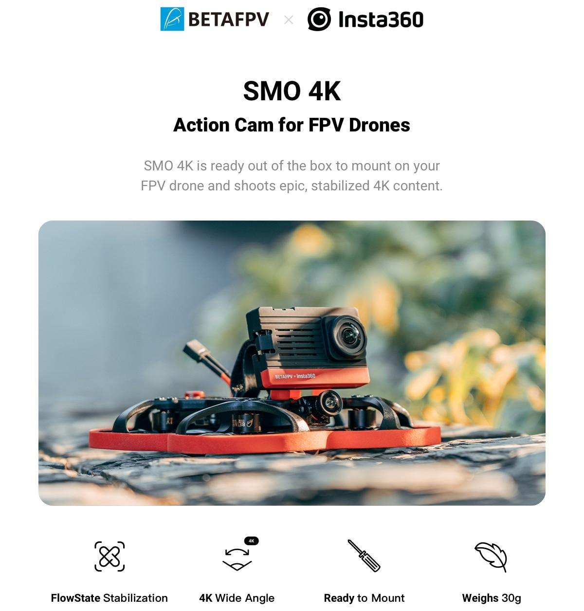 Insta360 BETAFPV SMO 4K Sports Camera Ultra Wide Angle Light Crossing Machine Portable for Beta95X V3 HD RC Camera Drone FPV DJI