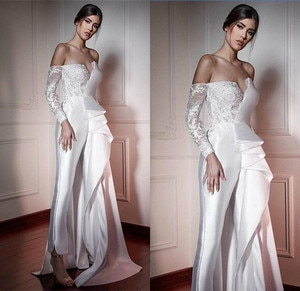 Strapless Wedding Jumpsuit  Lace Stain Wedding Jumpsuit with Overskirt Train Modest Off Shoulder Long Sleeve Bride Dress with