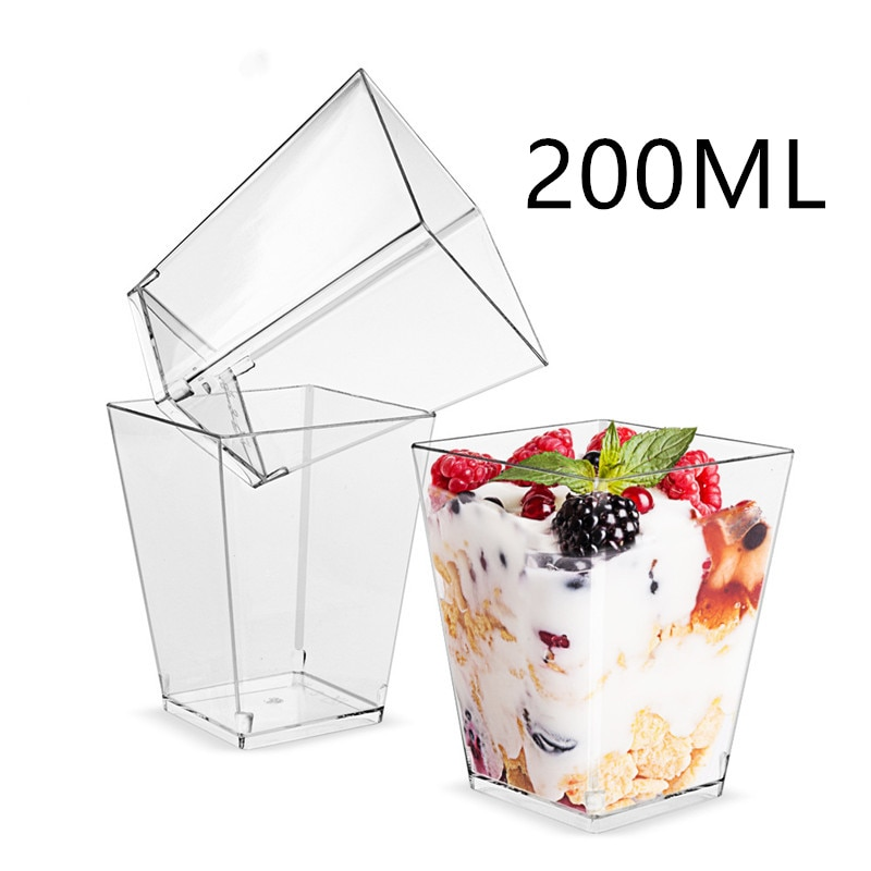 20 piezas 200ml de gran tamaño Mousses postre Copa claro taza de pudín de accesorios de fiesta boda suministros desechables de plástico vajilla