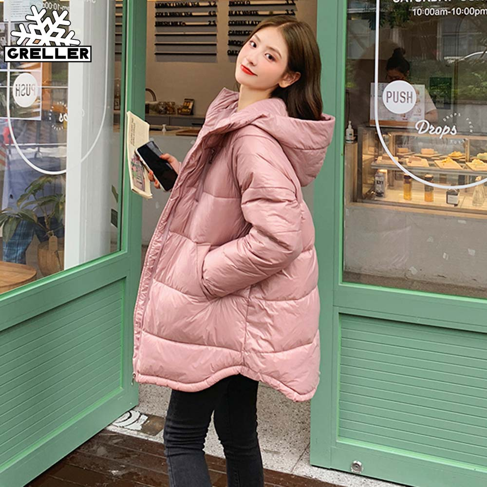 2020 Hooded Parka Winter Mid-Length Jacket Women Warm Thick Cotton Coat Female Glossy Casual Loose Cotton Clothing