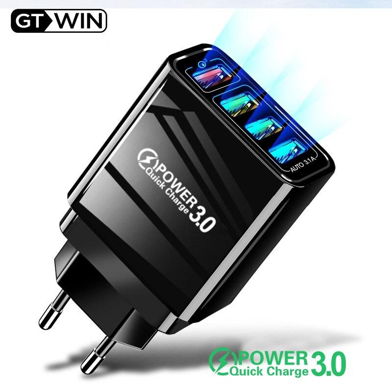 GTWIN carga rápida QC 3,0 cargador USB de 4 puertos carga de teléfono móvil USB para iPhone Samsung Xiaomi adaptador de pared cargador rápido