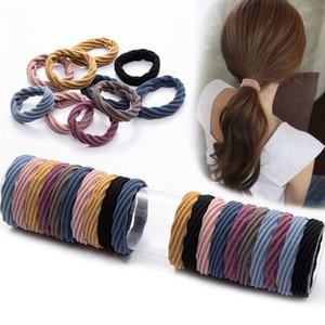10 шт. резинка для волос для девочек, однотонные аксессуары для волос, модные женские резинки для волос, эластичные резинки для волос