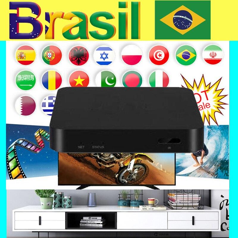 La mejor caja de tv Brasil iptv con 12 meses de garantía, caja de tv árabe España inteligente iptv Android, caja de Android de Brasil, compatible con EPG sin aplicación ni canales incluidos