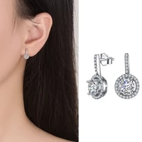 lesf 925 sterling silver music symbol earrings 5mm round halo shiny sona stone earrings jewelry ladies gifts
