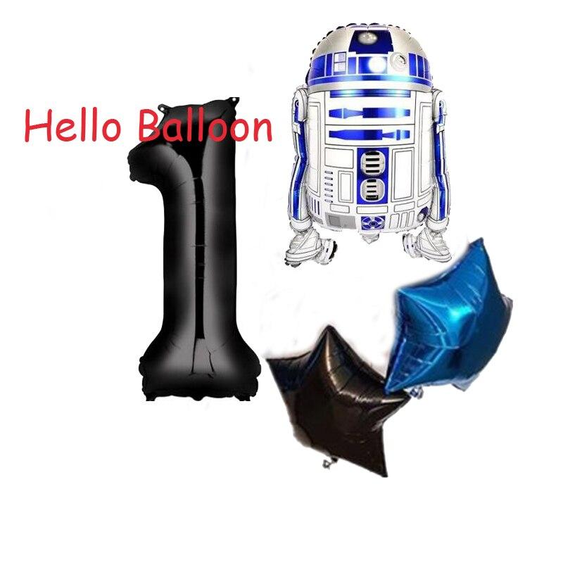 4 unids/lote de Globos de Star Wars, juguetes para niños, decoraciones para fiesta de cumpleaños de 32 pulgadas, número negro, globo de helio