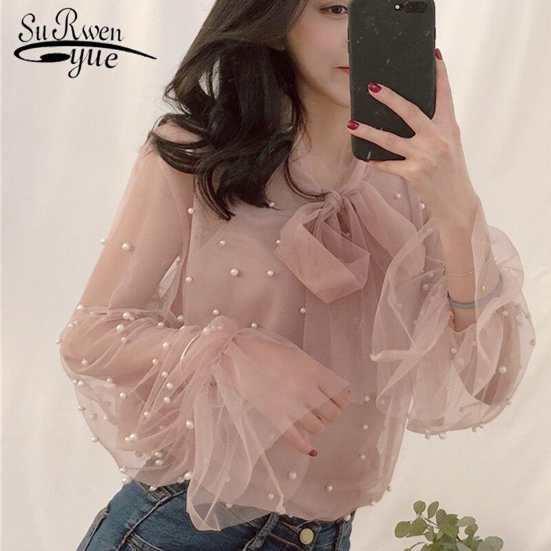 блузка рубашка женская Женская шифоновая рубашка Марля с бантом Бисероплетение Женские блузки Топы Офисные рубашки Розовый Белый4323 50