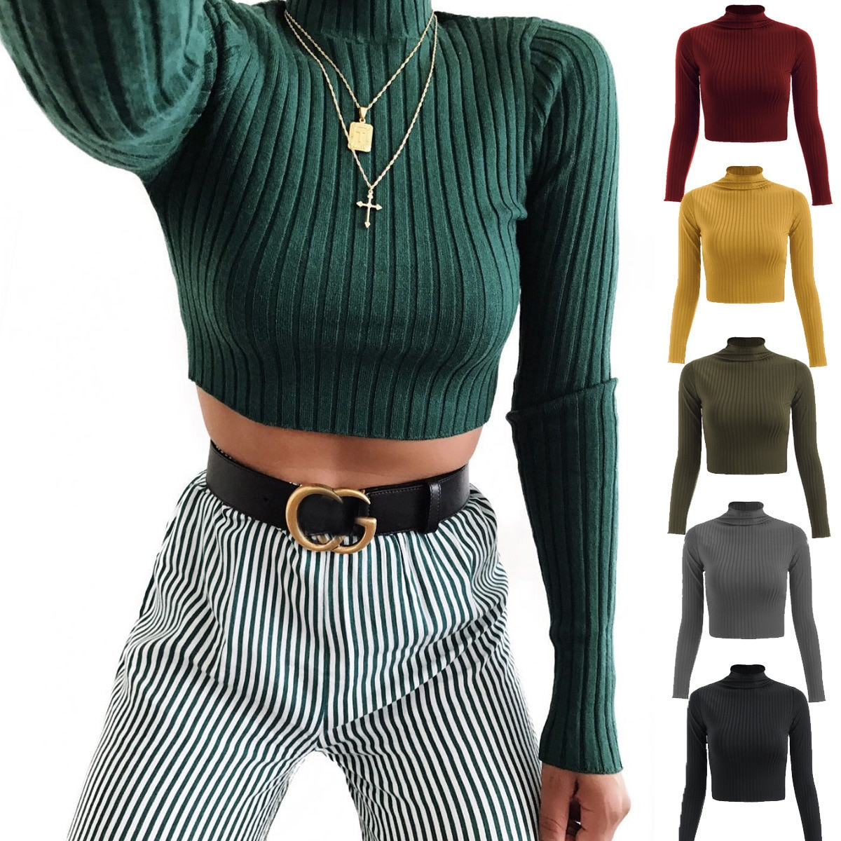 Sexy Navel Women Knitted Solid Crop Tops 2021 Fashion Turtleneck Knit Women Pullovers Short Top Shirts Tees Blouses Tops недорого