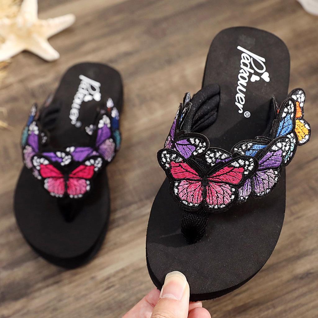 Zapatillas infantiles para niñas, estilo bohemio corbatín Floral, sandalias para niños, zapatos de playa, chanclas, Zapatillas para niños