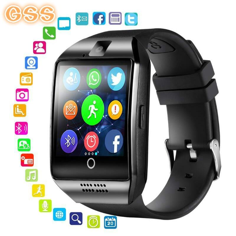Reloj inteligente GSS con cámara, reloj inteligente Q18 con Bluetooth, ranura para tarjeta SIM TF, rastreador de actividad física, reloj deportivo para Android