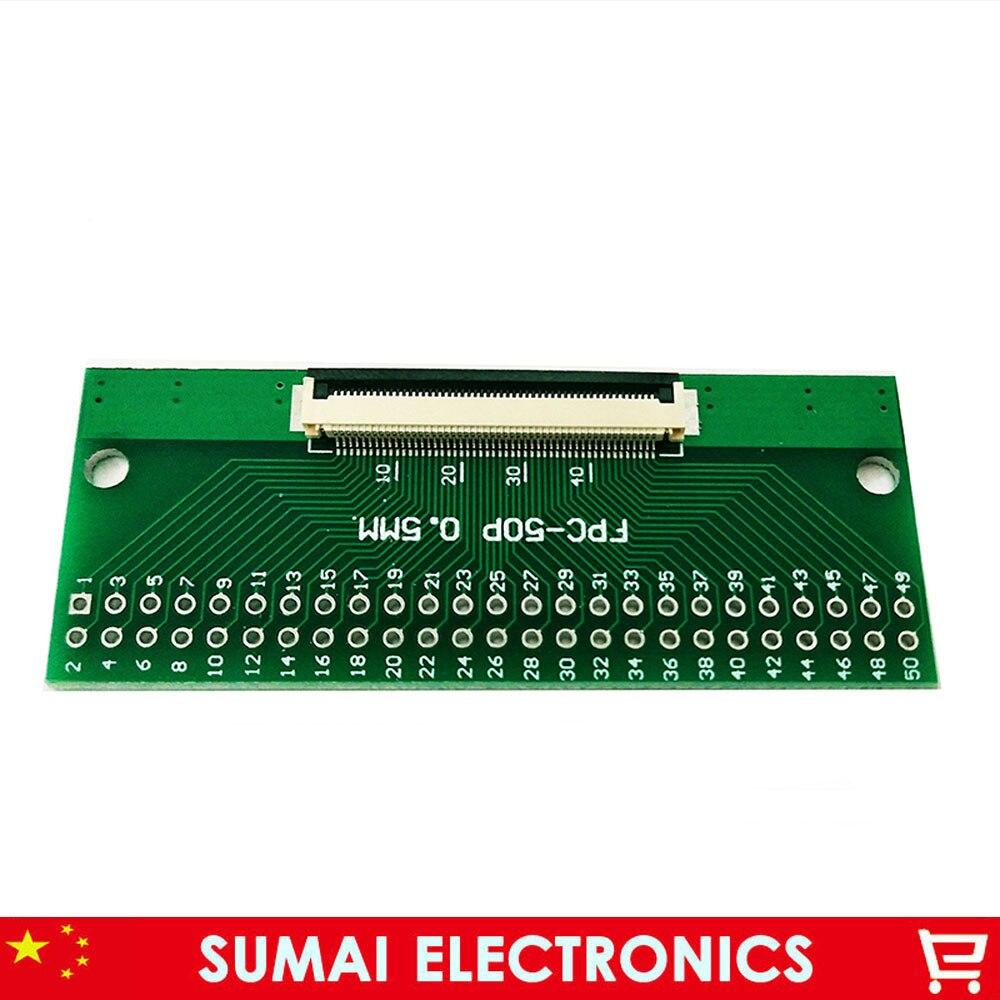 50 pin 0,5 мм FPC/FFC PCB разъем адаптера платы, 50P плоский кабель односторонний разъем