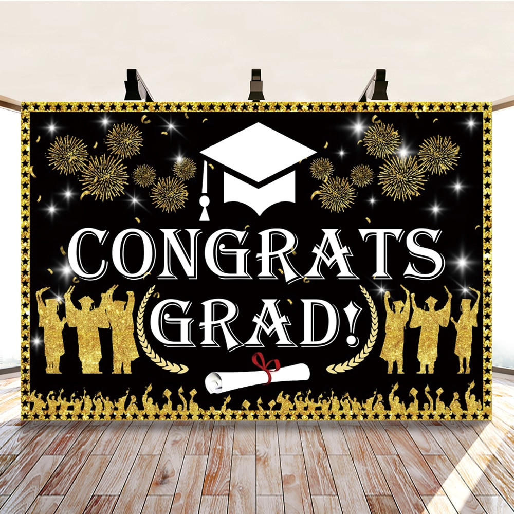 Yeele Graduation Gold Fireworks Glitters Themed Party Photography Backdrop Photographic Decoration Backgrounds For Photo Studio