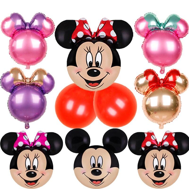 24 pulgadas Minnie globos de ratón papel de aluminio de dibujos animados fiesta de cumpleaños decoración de Mickey fiesta de ducha chico Juguetes