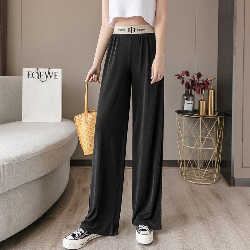 Женские брюки, летние брюки, женские брюки с высокой талией, широкие брюки, свободные женские эластичные брюки в Корейском стиле