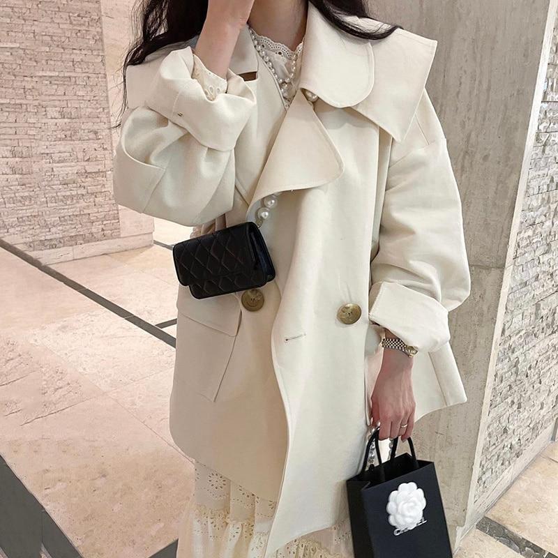 Overcoat Women Korean Chic Autumn Temperament Lapel Chic Two Loose Large Pocket Design Long Sleeve C