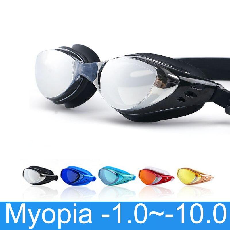 Óculos de natação miopia nadar óculos prescrição-1.0 ~-10 impermeável anti nevoeiro nadar óculos diopter máscara de mergulho para adultos crianças