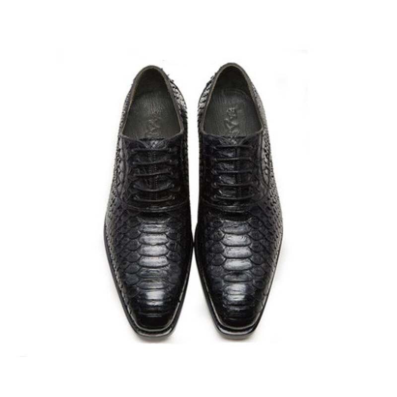 CWV-أحذية جلدية للرجال ، أحذية مكتب ، جلد الثعبان ، يدوي ، بنعل جلدي