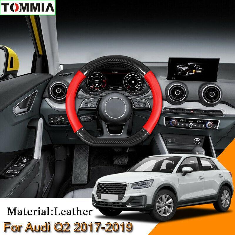 Auto Styling Carbon Faser Leder Auto Lenkrad Abdeckung Für Audi Q2 2017-2019