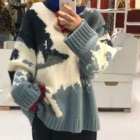 color print sweater women pullover 2020 autumn winter korean thick long sleeve knit jumper o neck warm sweaters