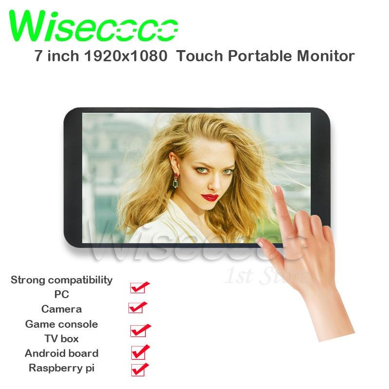 Wisecoco 7 بوصة 1920x1080 IPS شاشة تعمل باللمس جيب عرض للكاميرا PS4 صندوق التلفزيون التوت Pi 3 4 أندرويد لينكس SBC مع غطاء