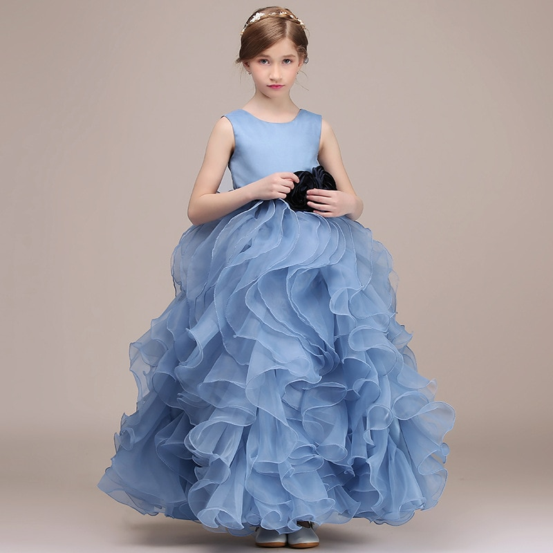 champagne kids girl formal party dress long tulle communion princess gowns flower girl dresses for wedding birthday Luxury Formal Birthday Party Dress For Kids Girl Blue Ruffles Organza Communion Princess Gowns Flower Girl Dresses For Wedding