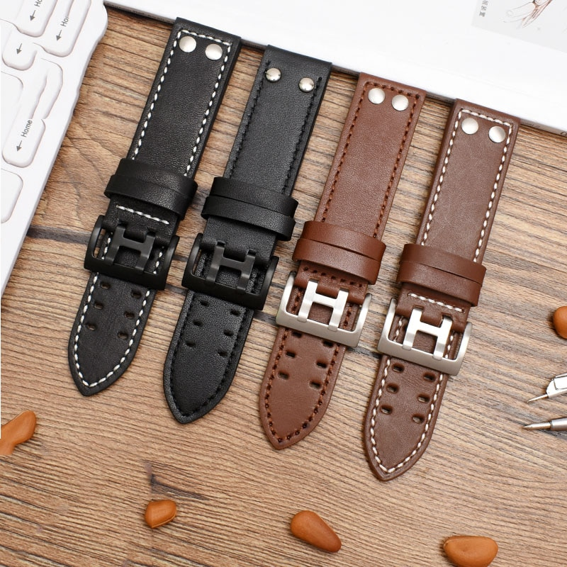 20mm 22mm Genuine Leather Watch Band For Hamilton Khaki Field Watch h760250 h77616533 Watchband Watc