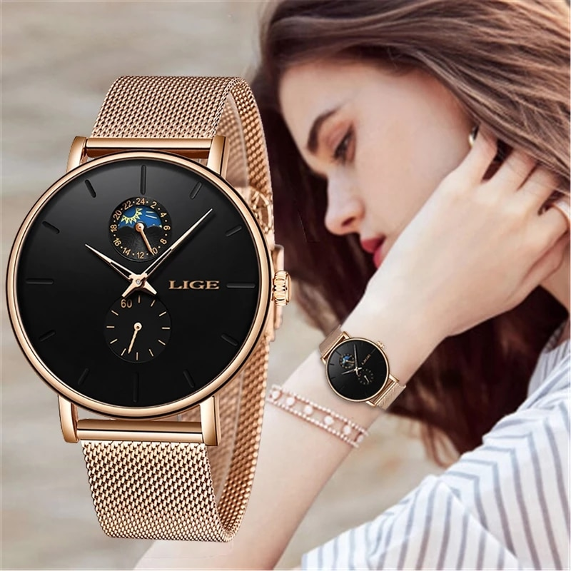 LIGE Woman Watches Rose Gold Luxury Watch Women Quartz Waterproof Women's Wristwatch Ladies Girls Watches Clock relogio feminino