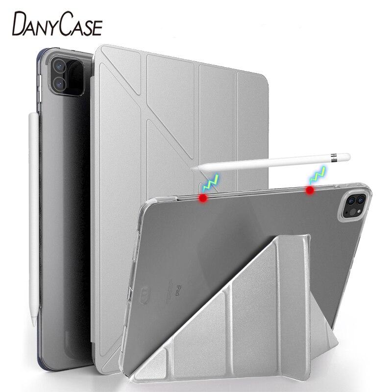 Novo ipad pro 2020 12.9 caso 2018 ipad pro 11 caso silicone macio capa 2020 ipad pro 11 2nd gen multi-anjo caso inteligente