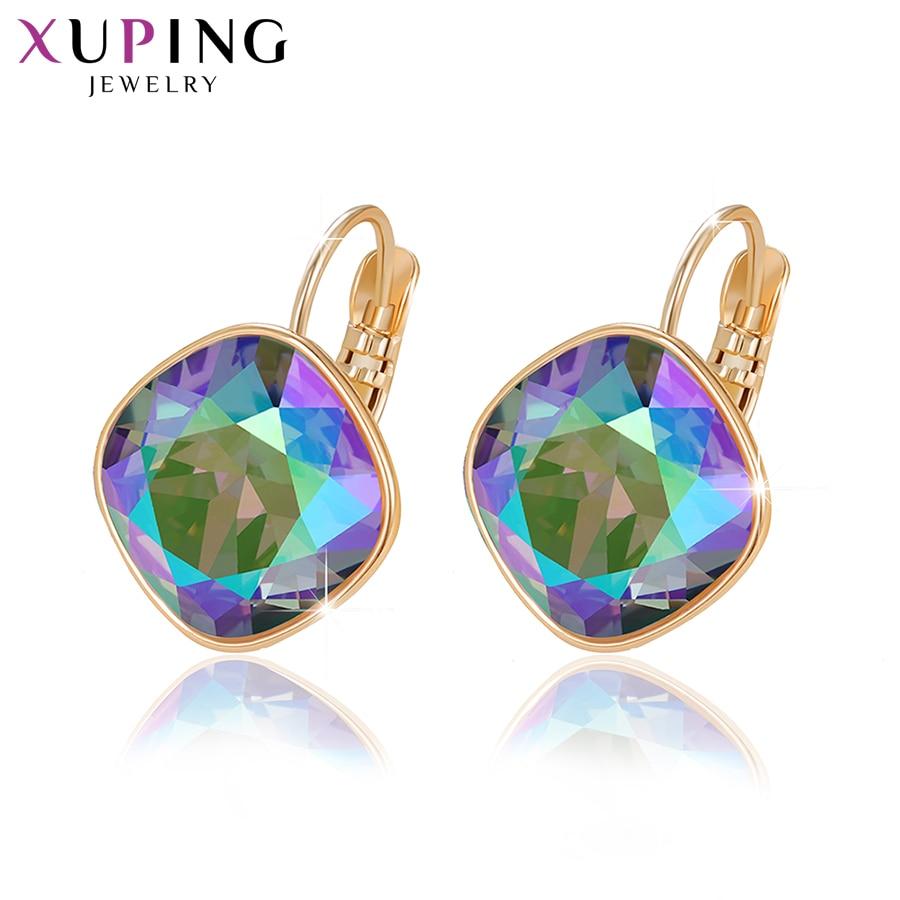 Xuping, романтические серьги-кольца, кристаллы от Swarovski, золотистый цвет, изысканные ювелирные изделия, вечерние, подарок для женщин и девочек, ...