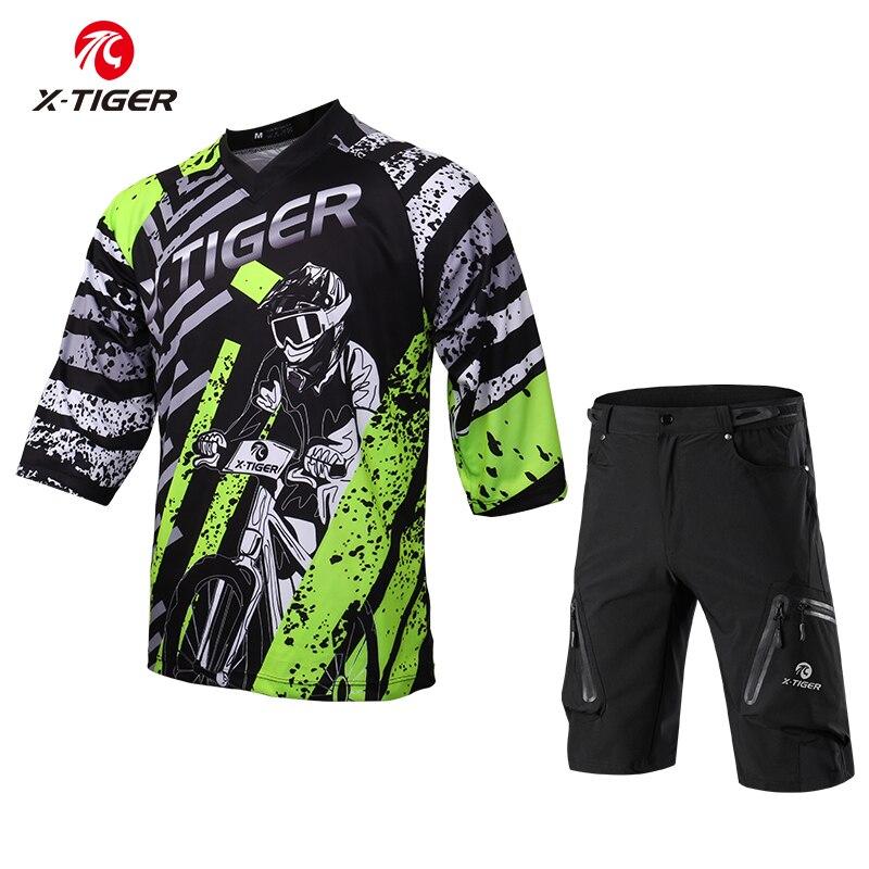 X-tiger 100% poliéster ciclismo roupas de manga média dh camisa downhill camisa respirável secagem rápida ciclismo jerseys conjunto de bicicleta